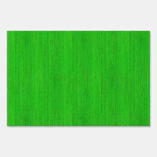 Bright Green Bamboo Wood Grain Look Lawn Sign