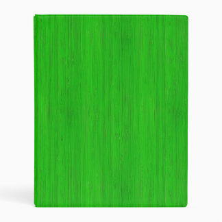 Bright Green Bamboo Wood Grain Look Mini Binder