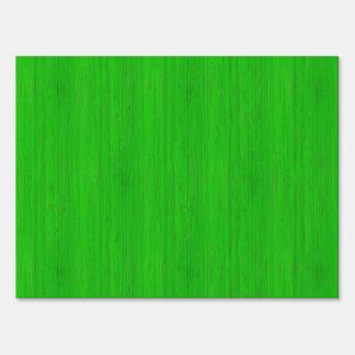 Bright Green Bamboo Wood Grain Look Sign