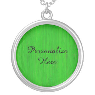 Bright Green Bamboo Wood Grain Look Silver Plated Necklace