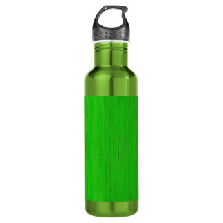 Bright Green Bamboo Wood Grain Look Stainless Steel Water Bottle