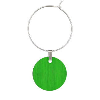 Bright Green Bamboo Wood Grain Look Wine Glass Charm