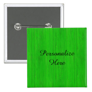 Bright Green Bamboo Wood Look 2 Inch Square Button
