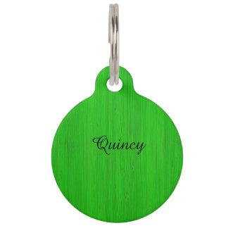 Bright Green Bamboo Wood Look Pet Nametag