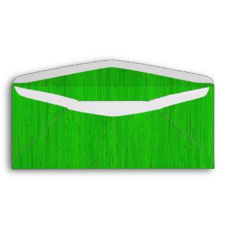 Bright Green Bamboo Wood Look Envelopes