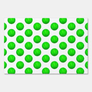 Bright Green Basketball Pattern Yard Sign