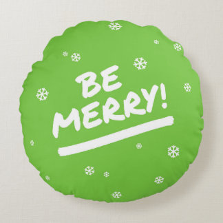 Bright Green Be Merry Marker Pen Holiday Snowflake Round Pillow