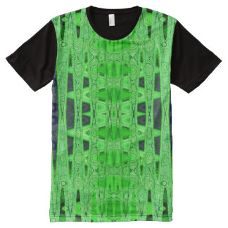 Bright Green Black Abstract All-Over-Print T-Shirt