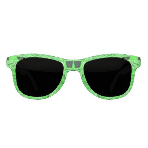 Bright Green Black Abstract Sunglasses