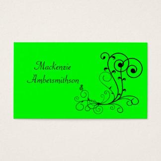 Bright Green Black Swirl Business Card