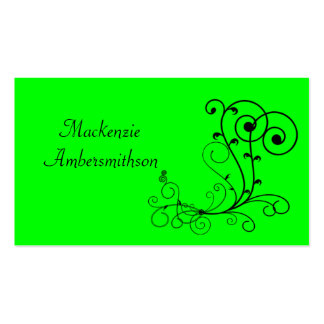 Bright Green Black Swirl Business Card