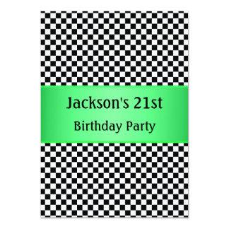 Bright Green Black & White Check  Party Card