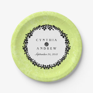 Bright Green Black & White Floral Scroll Wedding 7 Inch Paper Plate