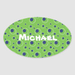 Bright Green Blue Circles Pattern Cute Stickers