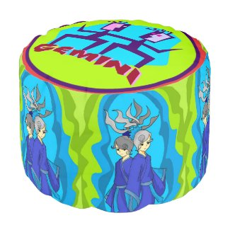 Bright Green Blue, Red Gemini Twins Horoscope Pouf