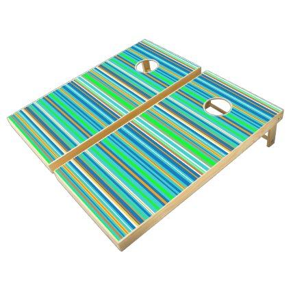Bright Green Blue Stripe Pattern Cornhole Set
