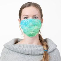 Bright Green Blue Teal Aqua Van Gogh Swirls Adult Cloth Face Mask