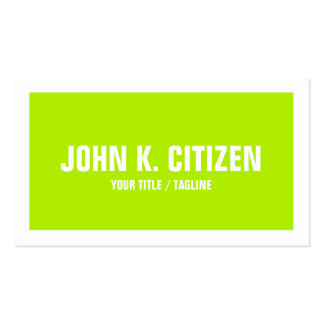 Bright Green Bold Text Wide Border Business Card