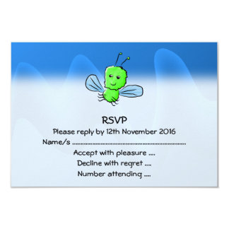 Bright Green Bug Flying Insect 3.5x5 Paper Invitation Card