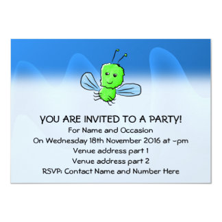 Bright Green Bug Flying Insect 4.5x6.25 Paper Invitation Card