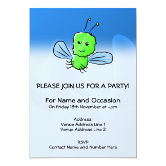 Bright Green Bug Flying Insect 5x7 Paper Invitation Card