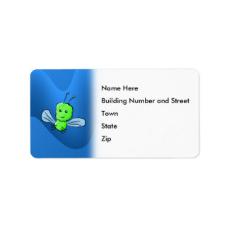 Bright Green Bug Flying Insect Address Label