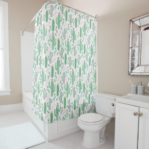 Bright Green Cactus Succulent Blossoms Pattern Shower Curtain