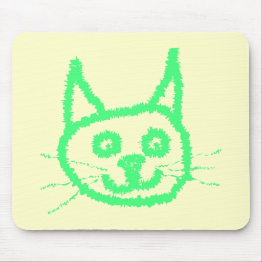 Bright Green Cat. Mousepads