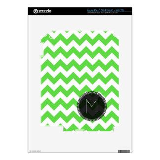 Bright Green Chevron Custom Text Skins For iPad 3