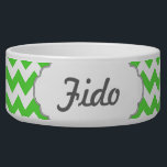 """Bright Green Chevron Monogram Bowl<br><div class=""""desc"""">Edit the text or monogram initial to create a personalized item with a bright green chevron background.</div>"""