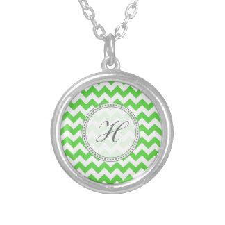 Bright Green Chevron Monogram Jewelry
