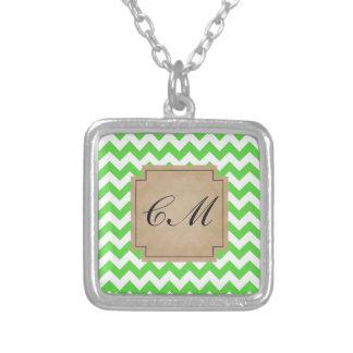 Bright Green Chevron Monogram Personalized Necklace