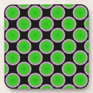bright green circle pattern coaster