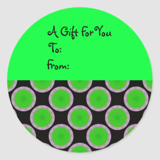 Bright Green Circles Gift Tag Stickers