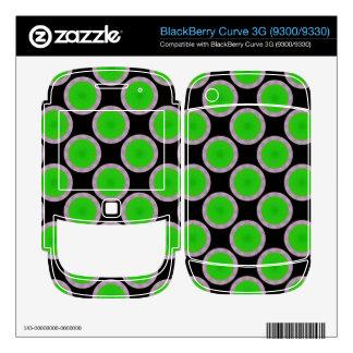 Bright green circles on black BlackBerry decals