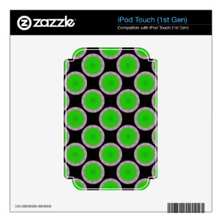 Bright green circles on black decal for iPod touch