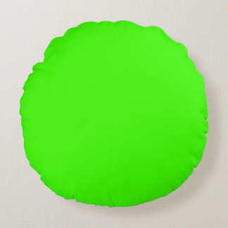 Bright Green Color Background Neon Green Color Round Pillow