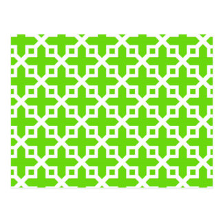 Bright Green Cross Section Pattern Postcard