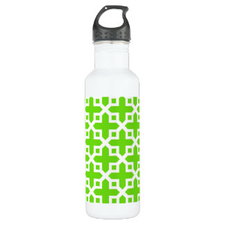 Bright Green Cross Section Pattern Stainless Steel Water Bottle