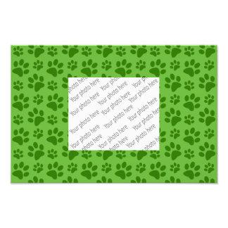 Bright green dog paw print pattern photo print