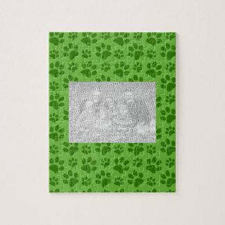 Bright green dog paw print pattern puzzles