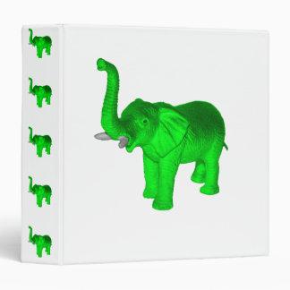 Bright Green Elephant 3 Ring Binder