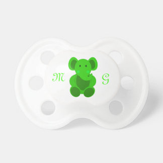 Bright Green Elephant & Monogram - Pacifier Pacifiers