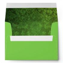 Bright Green Envelope w/ Green/Black Damask Inside