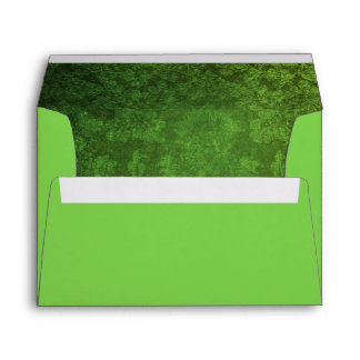 Bright Green Envelope w/ Green/Black Damask Inside