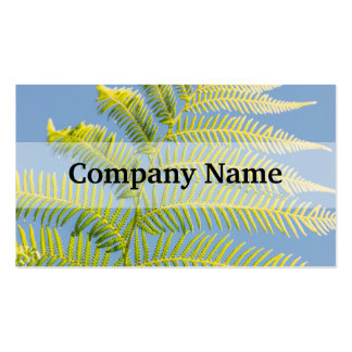 Bright Green Fern On A Blue Background Business Cards