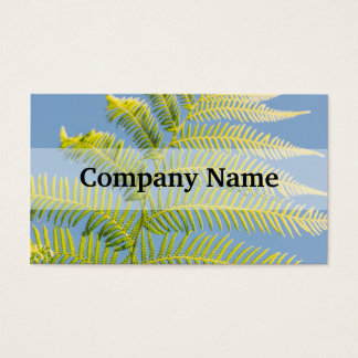 Bright Green Fern On A Blue Background Business Card