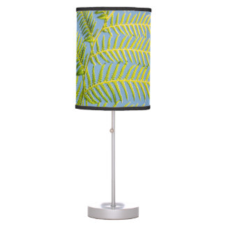 Bright Green Fern On A Blue Background Table Lamp