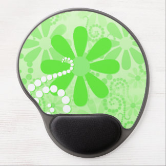 Bright Green Floral Cute Retro Daisy Flowers Gel Mouse Pad