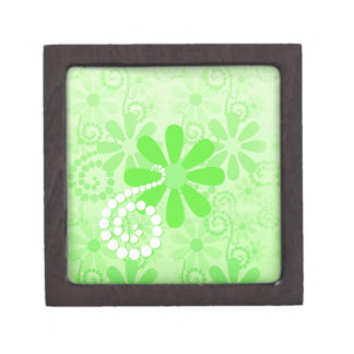 Bright Green Floral Cute Retro Daisy Flowers Jewelry Box